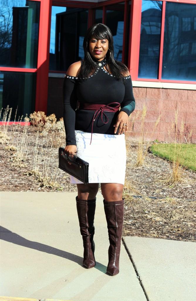 Cold shoulder top and applique skirt34