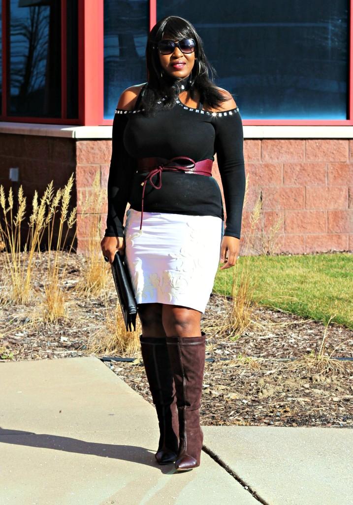 Cold shoulder turtleneck top and applique skirt 21