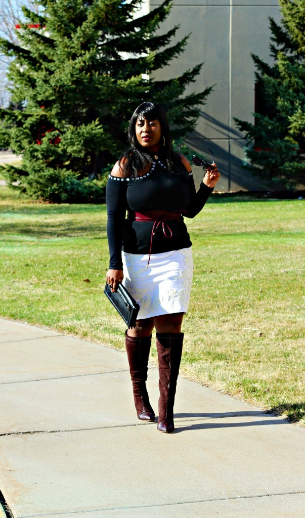 Turtleneck Cold-shoulder-and-boots and off-white-skirt