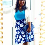 White and Blue Spring Floral Skirt + White Blazer