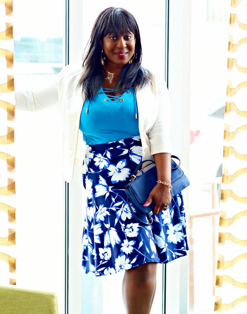 White and Blue Spring Floral Skirt + White Blazer