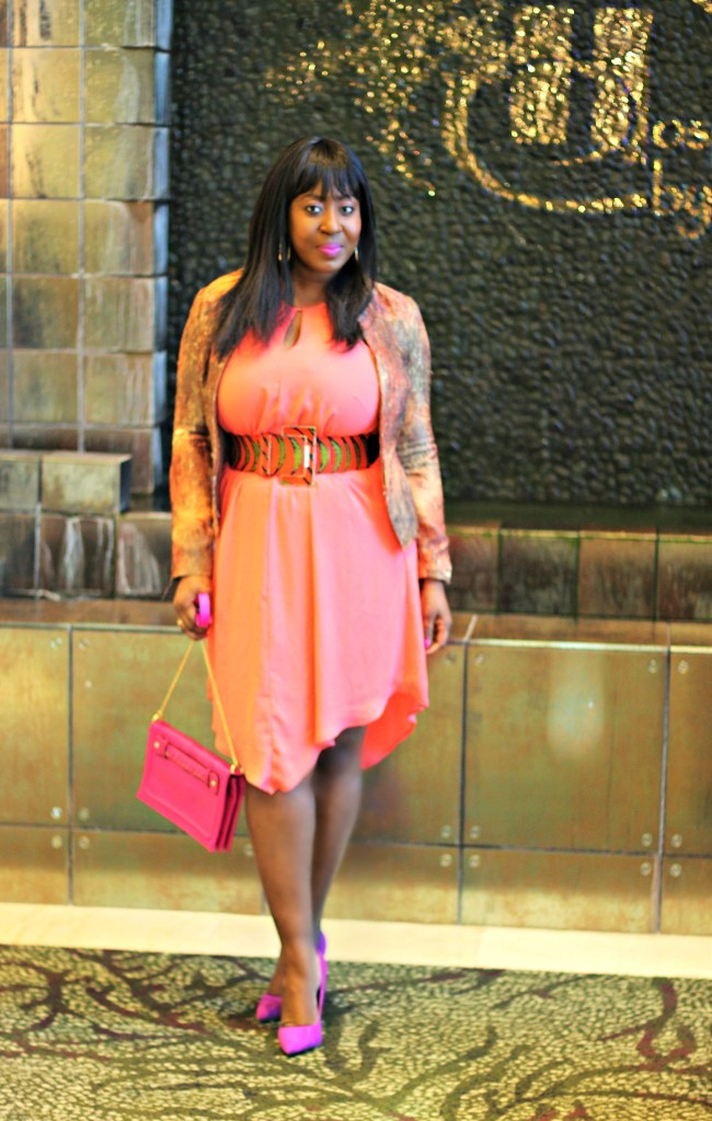 Coral Dress- Ankara-belt-Structured Blazer