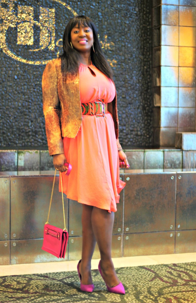 Coral Spring Dress- Ankara-belt-Structured Blazer