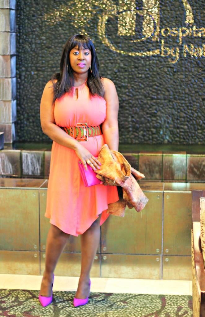 Pretty Coral Spring Dress- Ankara-belt-Structured Blazer 3