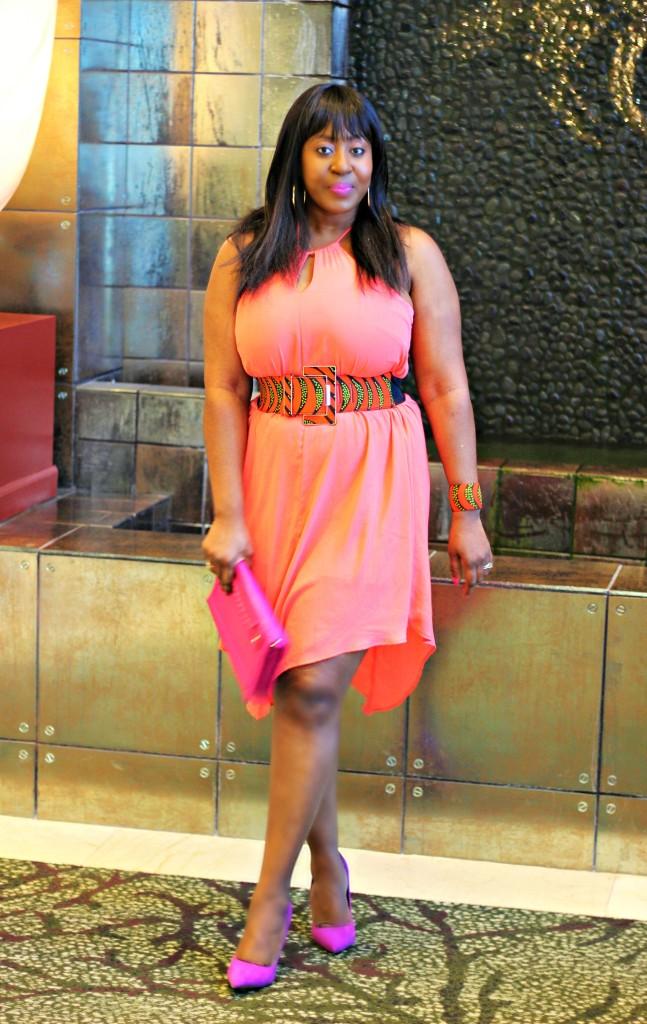 Pretty Coral Spring Dress- Ankara-belt-Structured Blazer