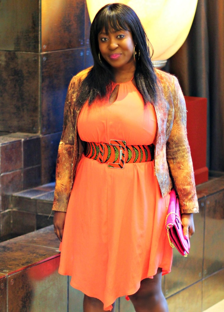 Spring coral dress and ankara belt and beige blazer 1
