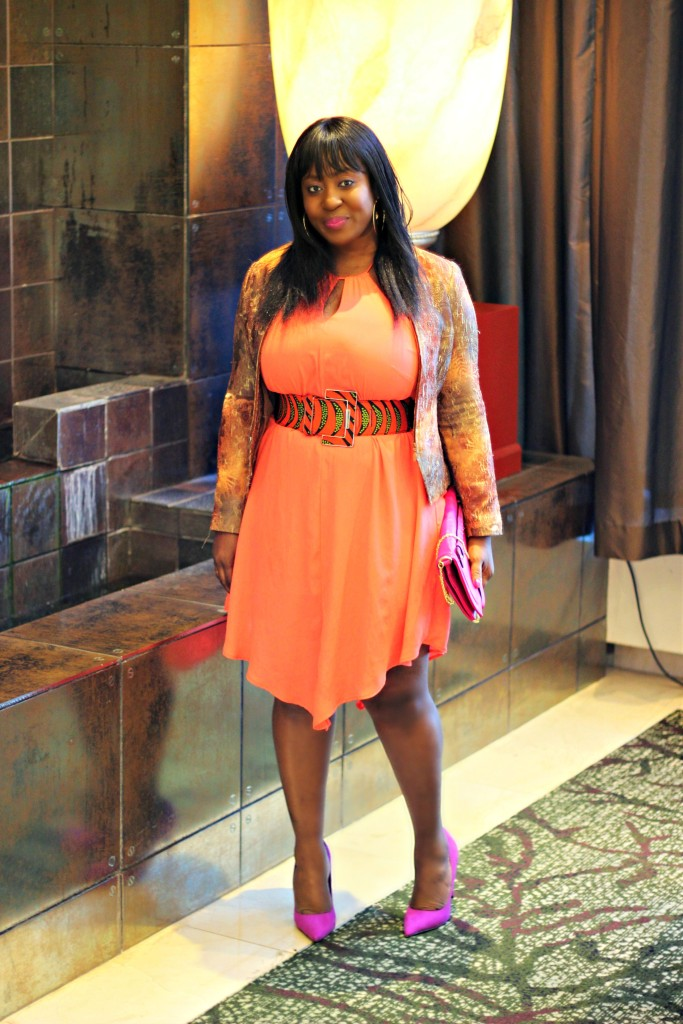 Spring coral dress and ankara belt and beige blazer