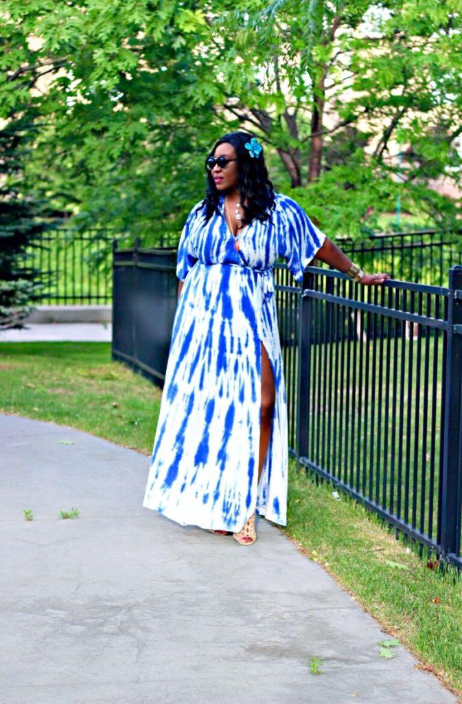 Beautiful tie dye blue summer maxi dress 2