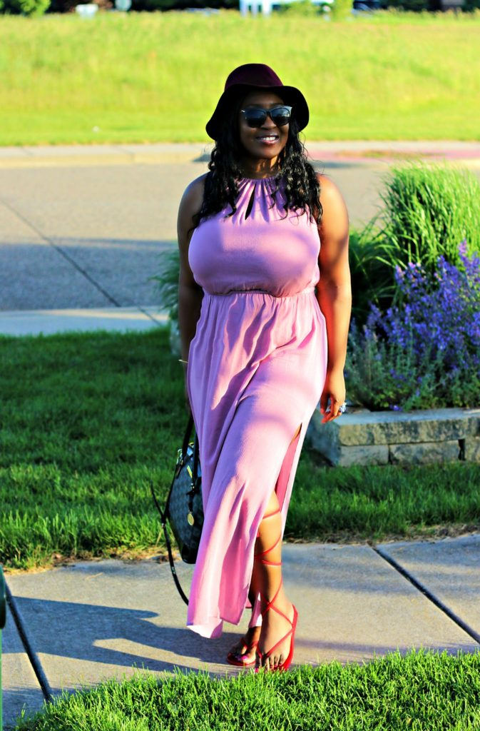 Dusty Mauve slit maxi dress 11