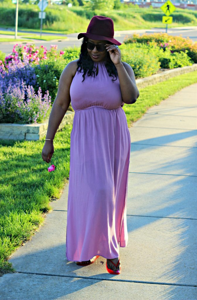 Dusty Mauve slit maxi dress 81