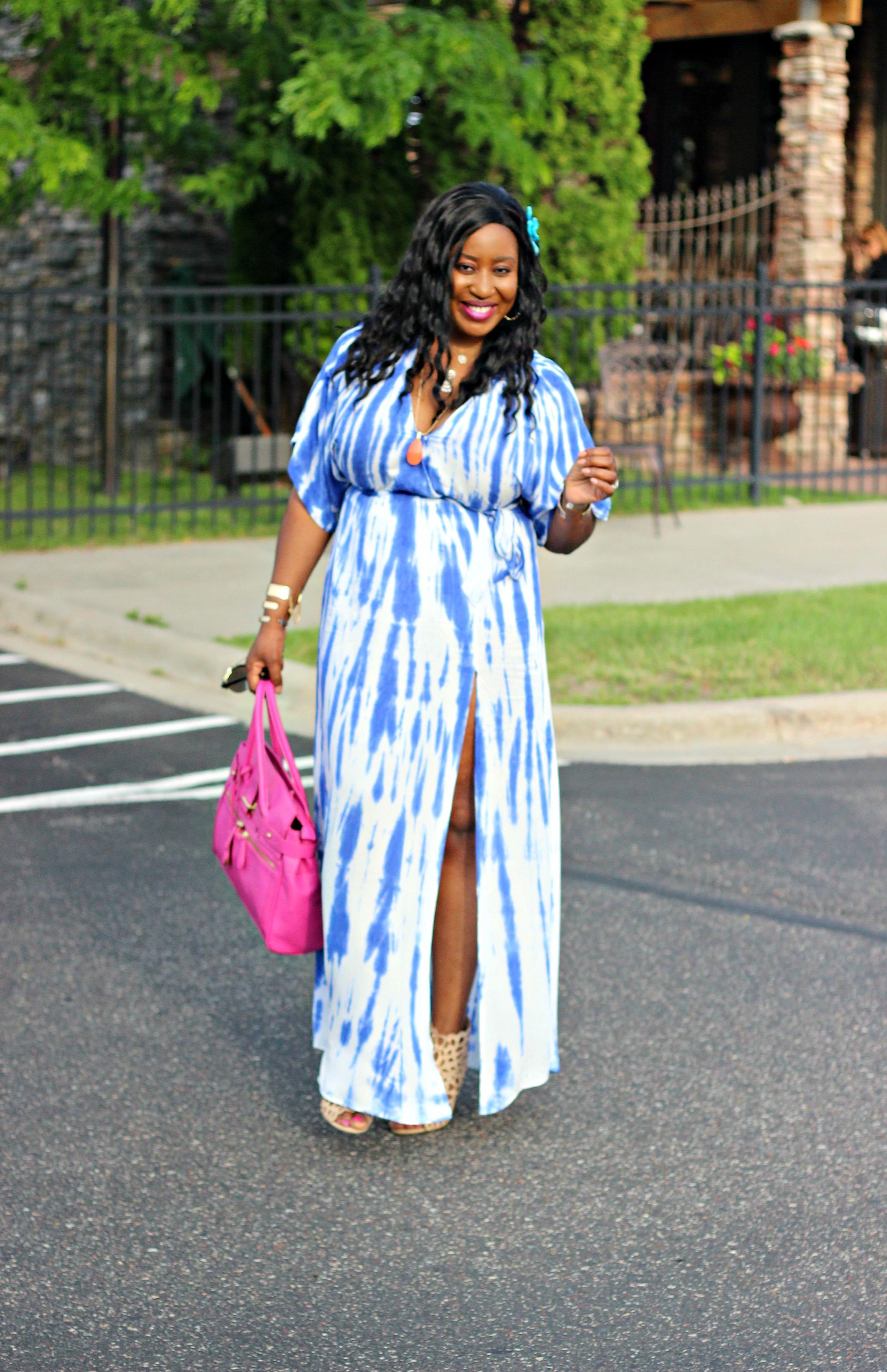 Blue Tie Dye Wrap Maxi Dress Hypnoz Glam