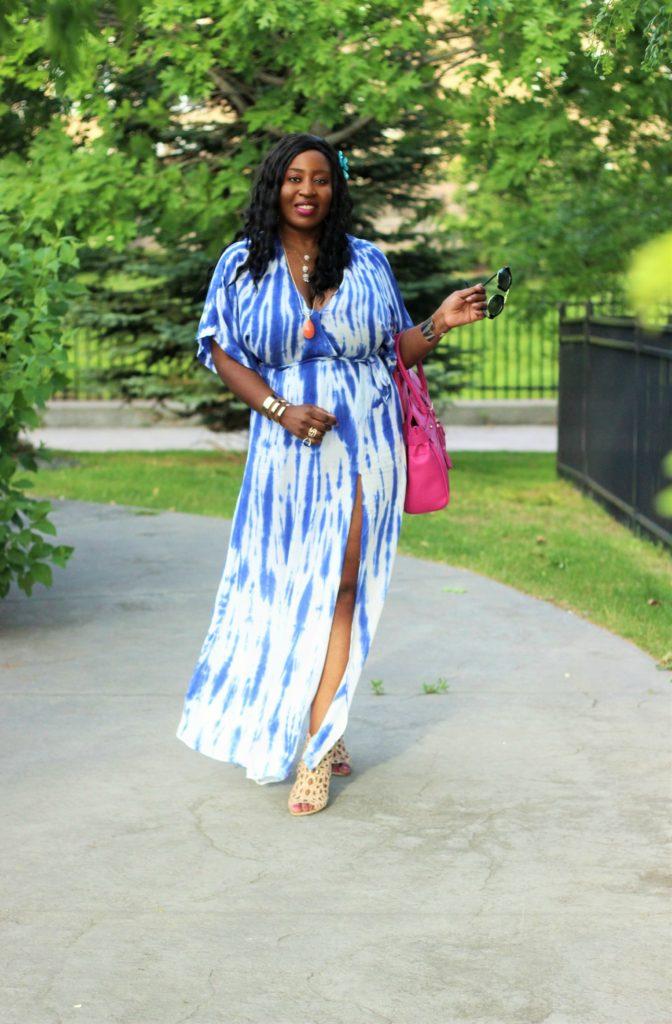 Lulu -Tie - dye Blue Wrap Maxi Dress11 jpg