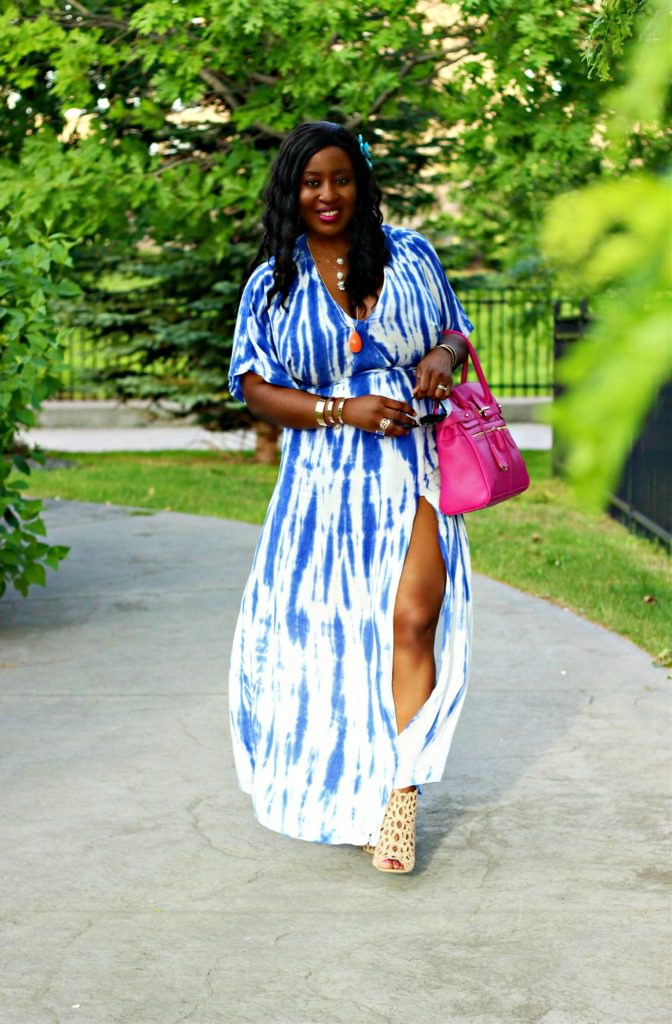 Blue Tie-dye  Wrap Maxi  Dress