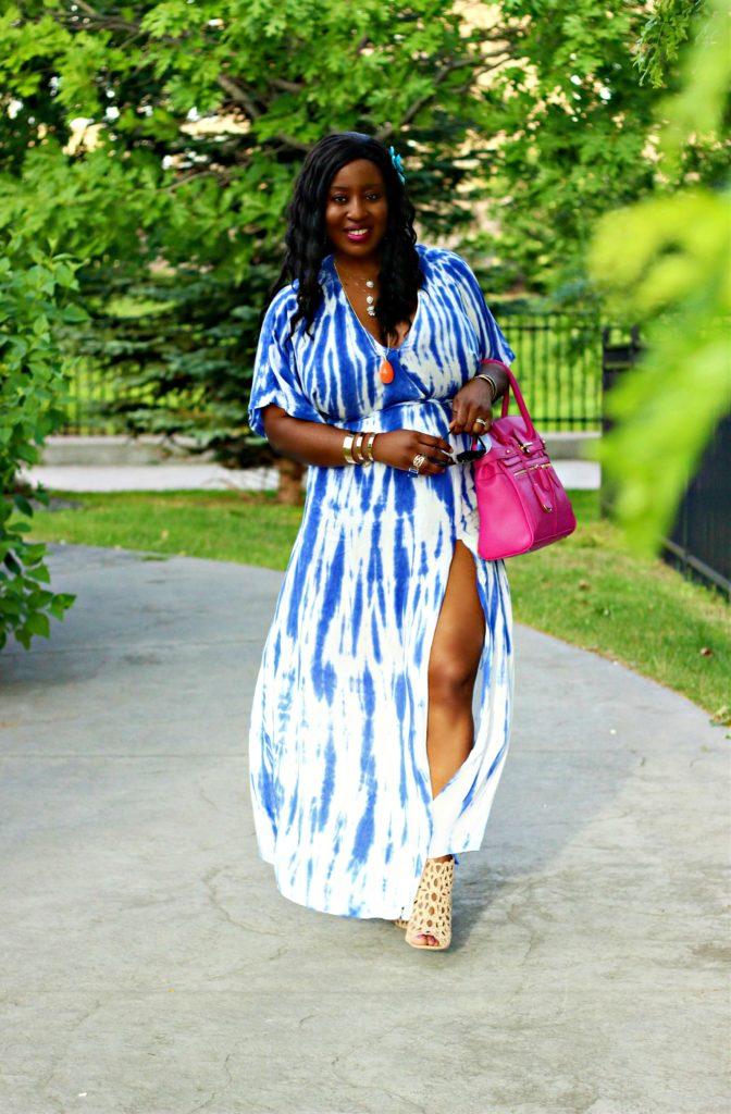 Lulu -Tie - dye Blue Wrap Maxi Dress12 jpg