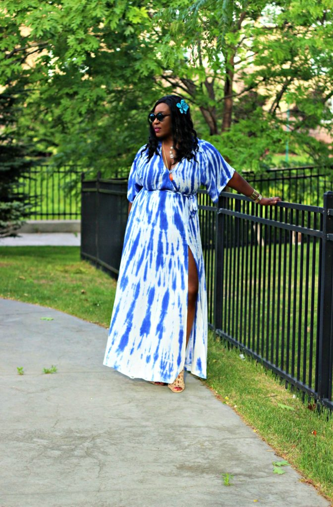 Lulu -Tie - dye Blue Wrap Maxi Dress13 jpg