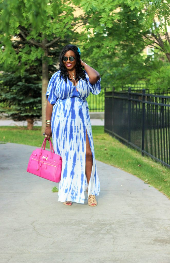Lulu -Tie - dye Blue Wrap Maxi Dress14 jpg