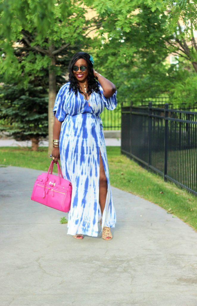 Lulu -Tie - dye Blue Wrap Maxi Dress14 jpg