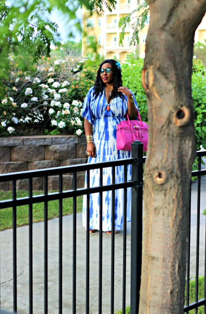 Lulu -Tie - dye Blue Wrap Maxi Dress15jpg