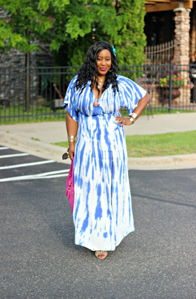 Tie - dye Blue Wrap Maxi Dress 1