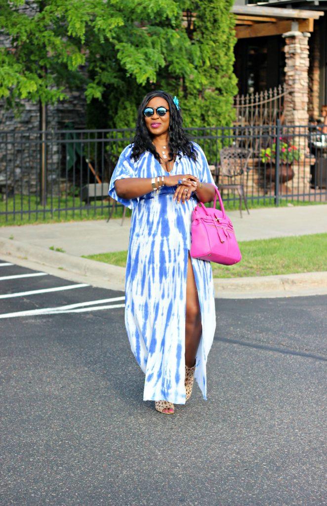 Tie - dye Blue Wrap Maxi Dress 1!!!