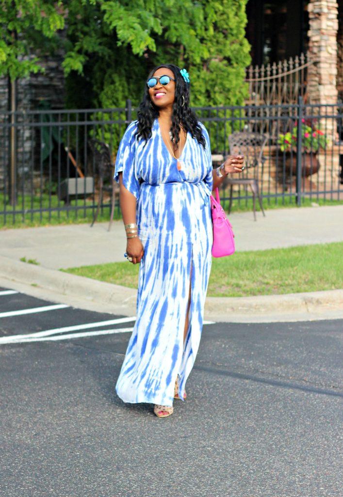 Tie - dye Blue Wrap Maxi Dress 12