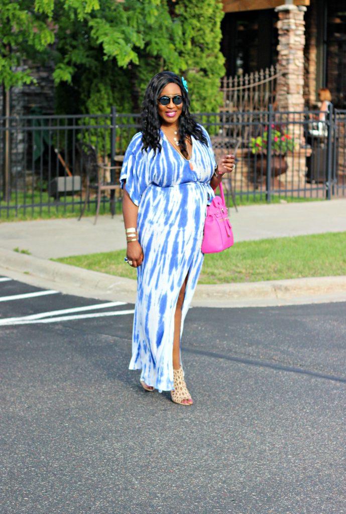 Tie - dye Blue Wrap Maxi Dress 13