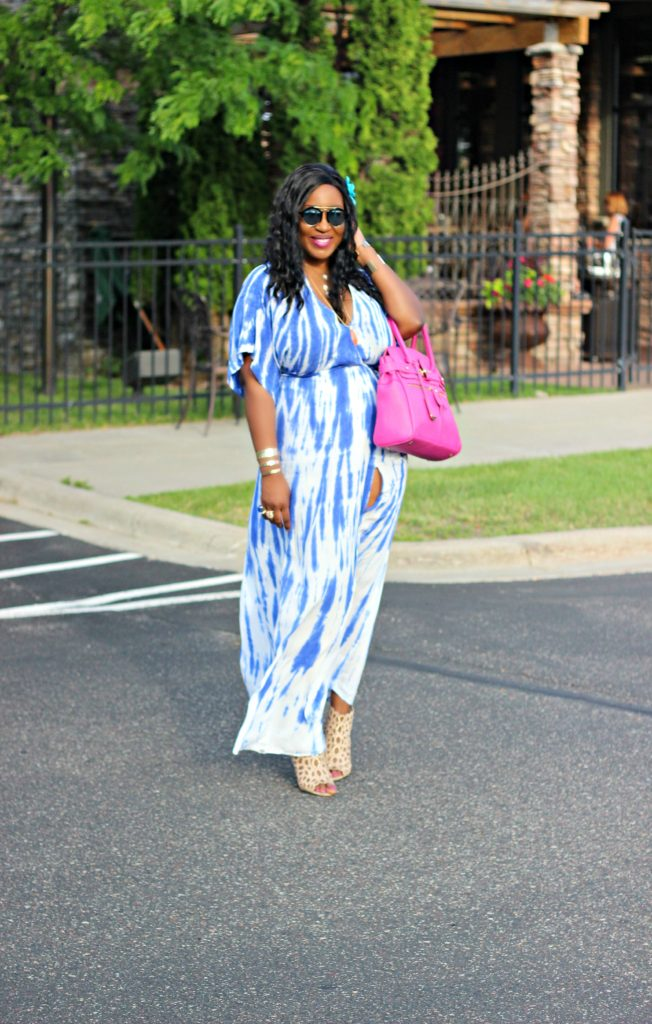 Tie - dye Blue Wrap Maxi Dress 17