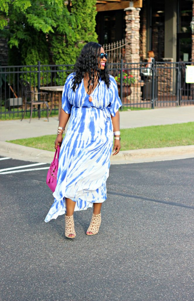 Tie - dye Blue Wrap Maxi Dress 2