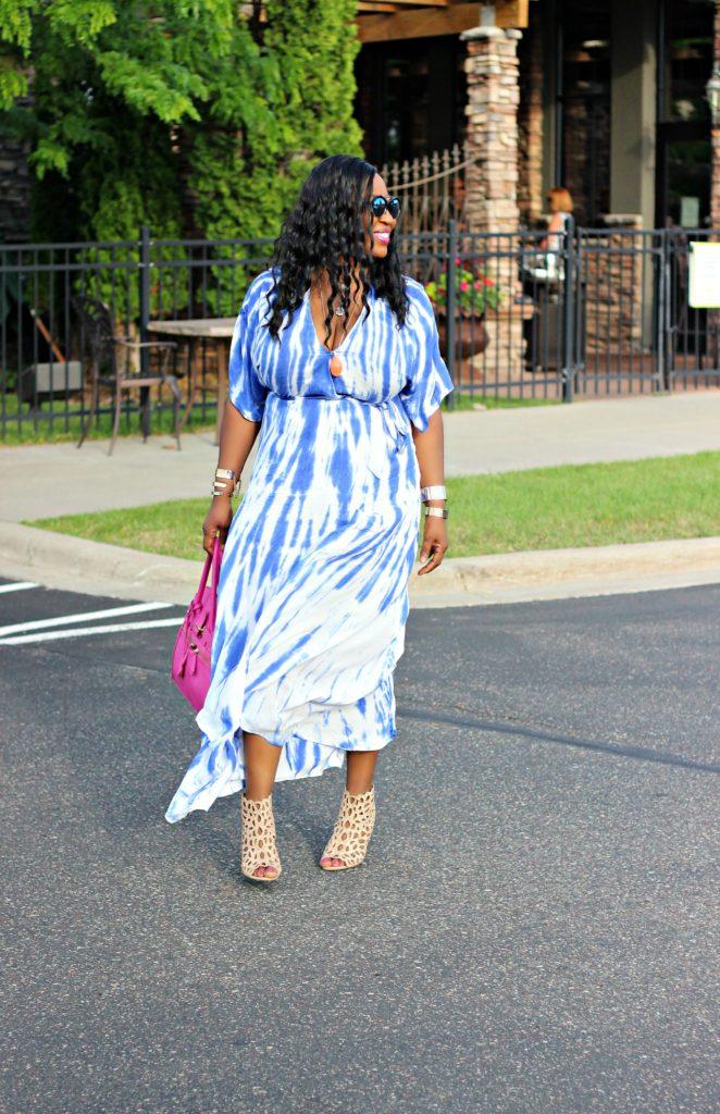 Tie - dye Blue Wrap Maxi Dress 2