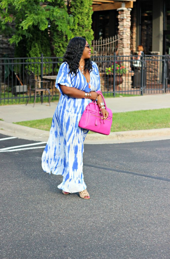 Tie - dye Blue Wrap Maxi Dress 22