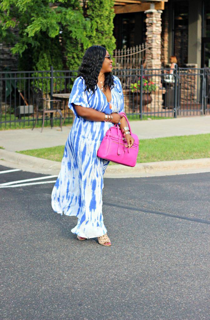 Tie - dye Blue Wrap Maxi Dress 22