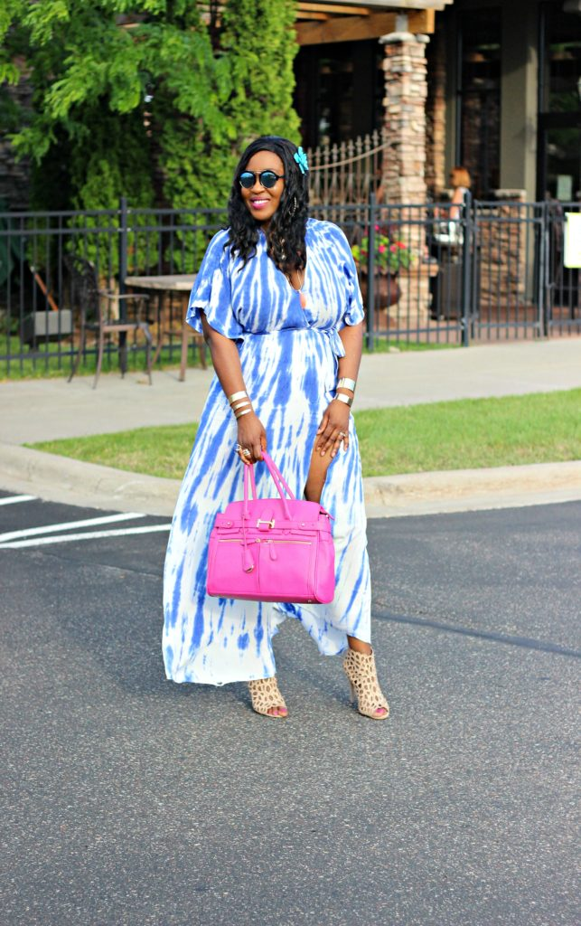 Tie - dye Blue Wrap Maxi Dress 23