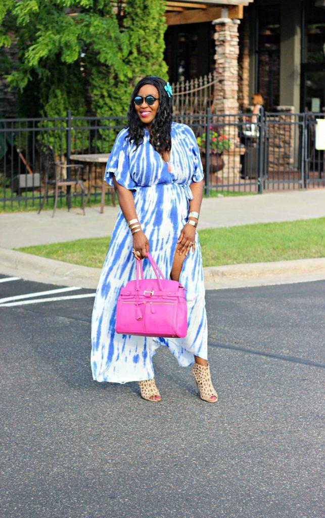 Tie - dye Blue Wrap Maxi Dress 23
