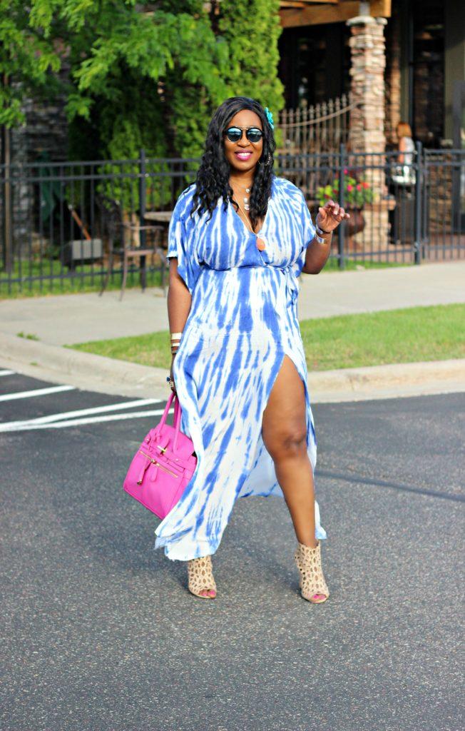 Tie - dye Blue Wrap Maxi Dress 32