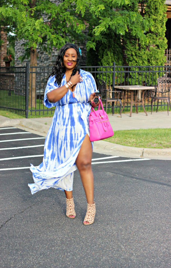 Tie - dye Blue Wrap Maxi Dress 33