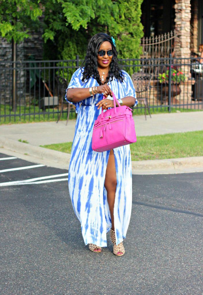 Tie - dye Blue Wrap Maxi Dress 4