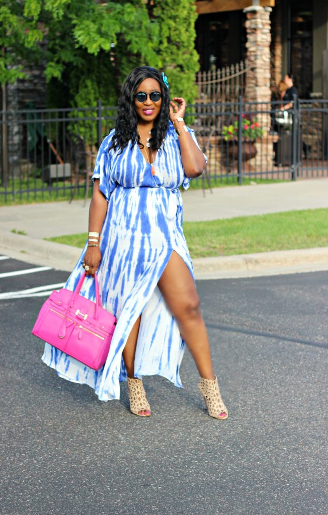 Tie - dye Blue Wrap Maxi Dress 40