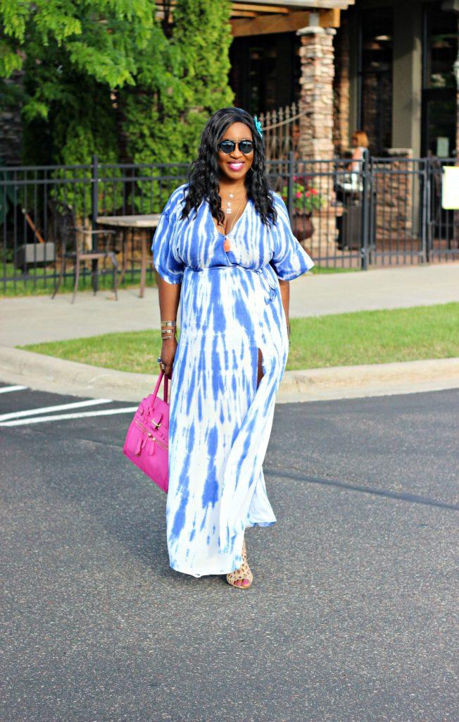 Tie - dye Blue Wrap Maxi Dress