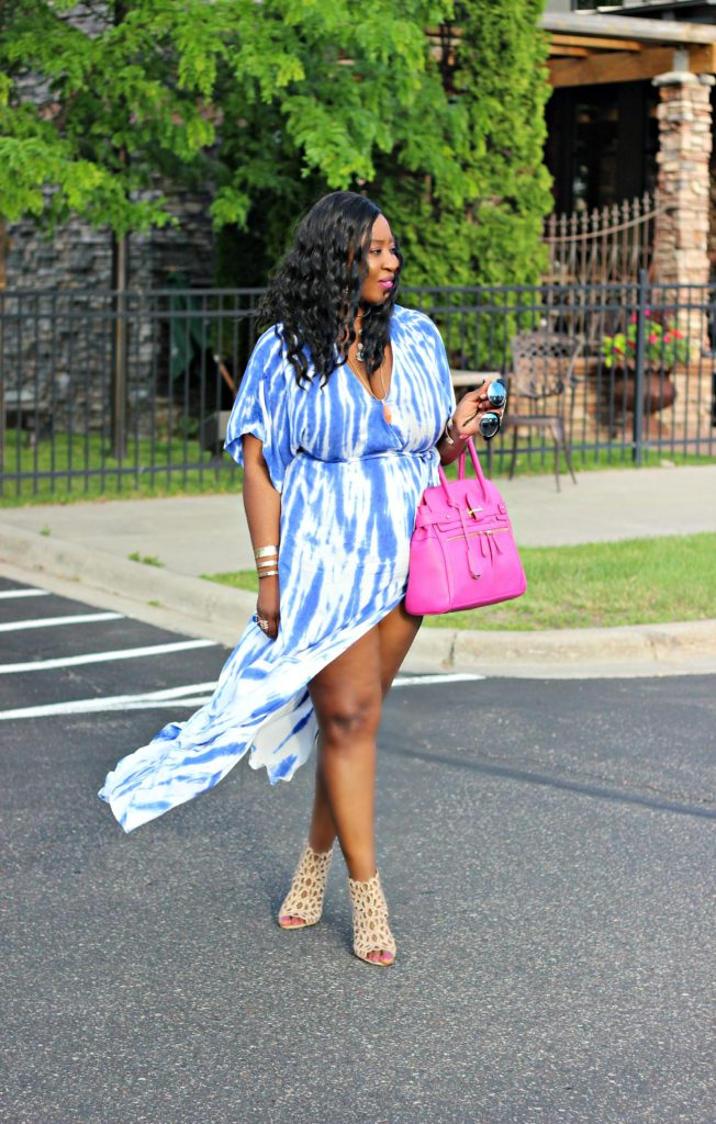 Tie - dye Blue Wrap Maxi Dress 52