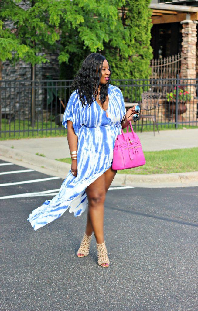 Tie - dye Blue Wrap Maxi Dress 52