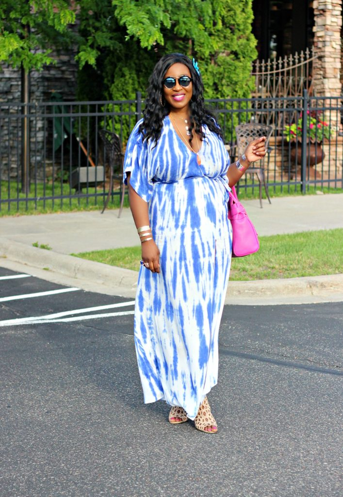 Tie - dye Blue Wrap Maxi Dress 6