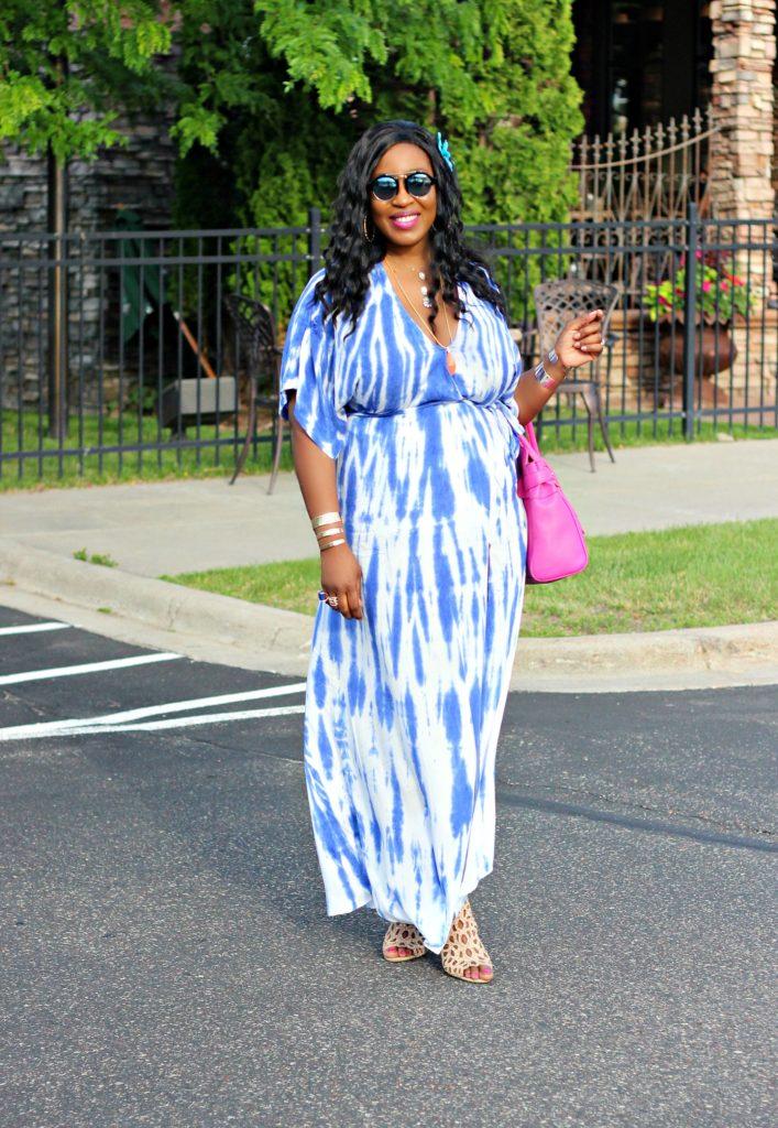 Tie - dye Blue Wrap Maxi Dress 6