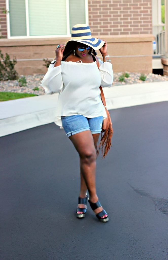 beautiful-off-white-shoulder-top and shorts and hats
