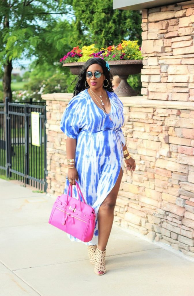 beautiful summer blue tie dye maxi dress