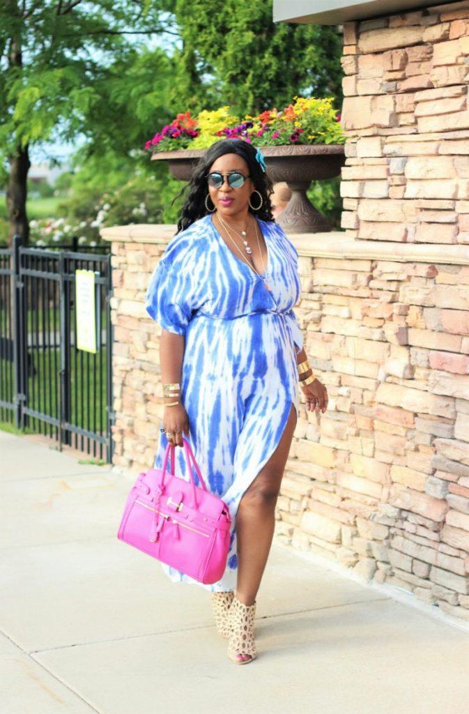 beautiful summer blue tie dye maxi dress