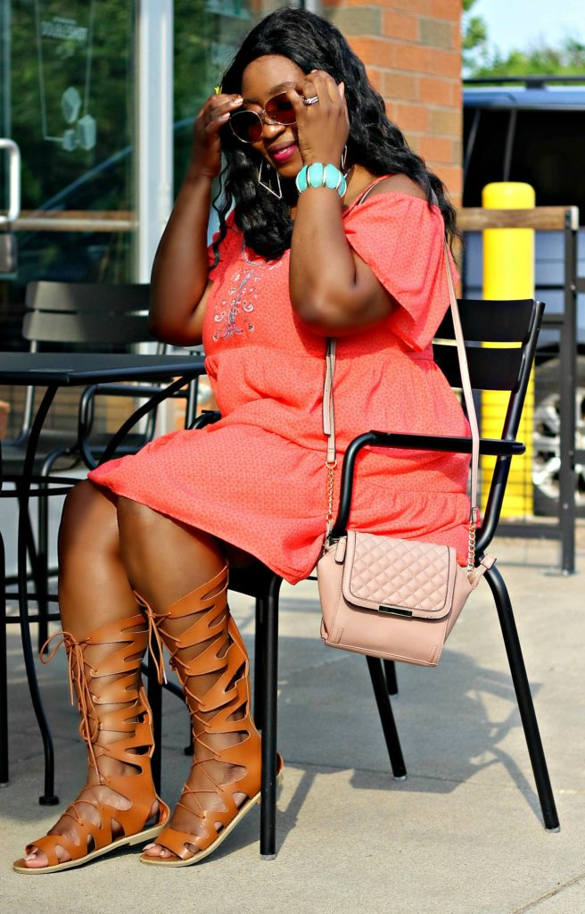 Beautiul-summer-off-Shouder-dress-and-lace-up-sandals