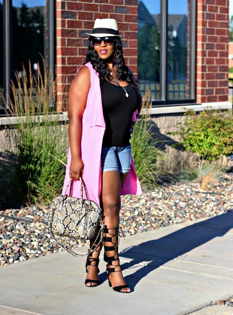 Shorts-pink-vest-and -lace -up-gladiators 23