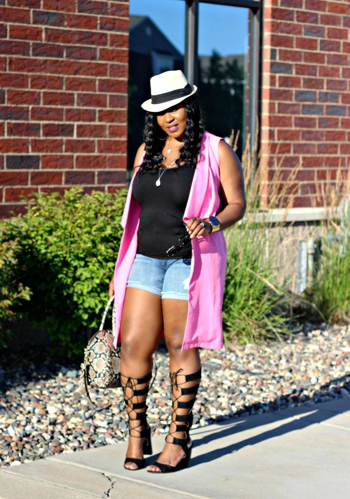 Shorts-pink-vest-and -lace -up-gladiators heels 1