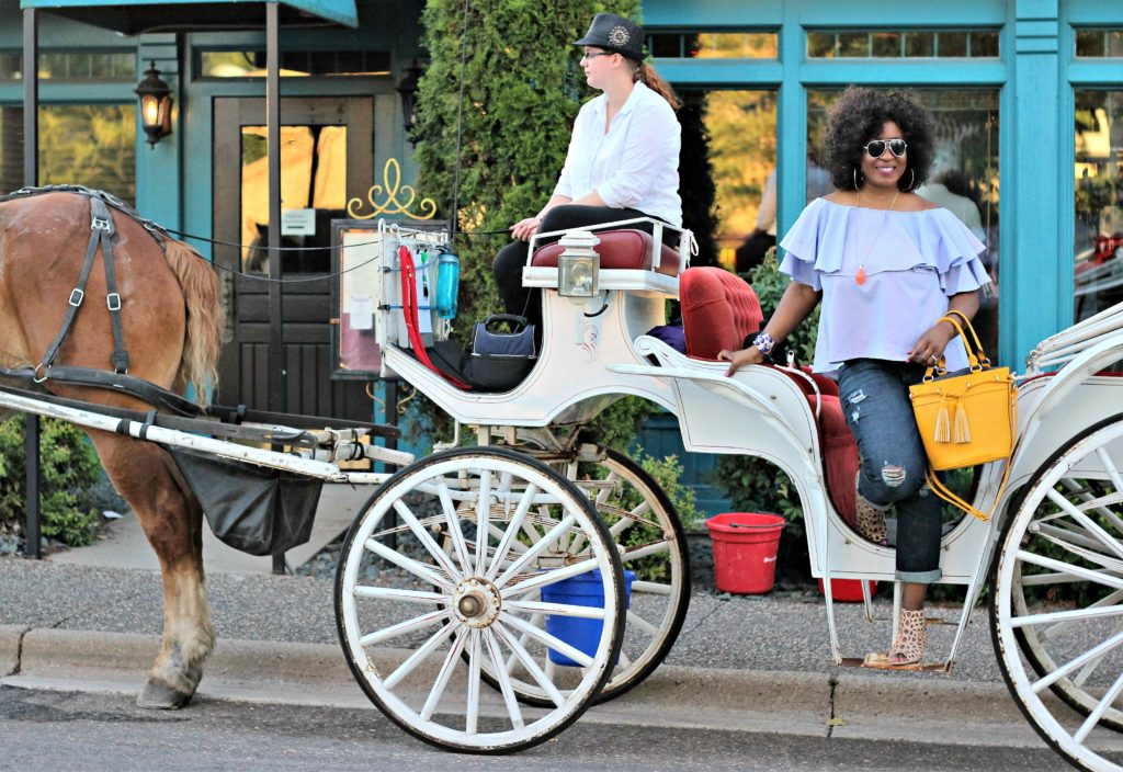 beautiful off the shoulder top in horse carriage 2
