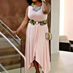 Blush Drapped Dress + Ankara Accessories
